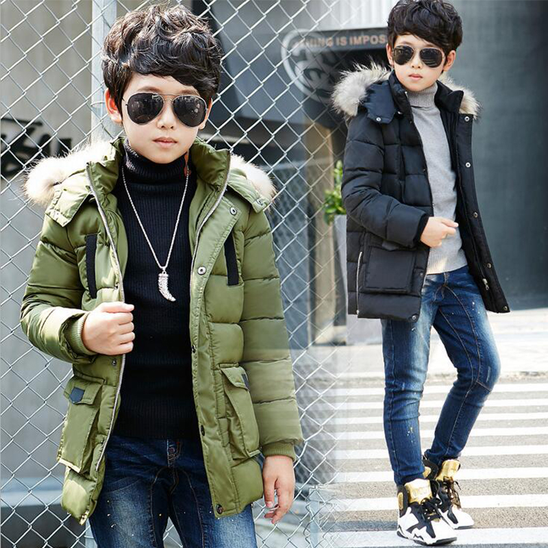 ФОТО Children Winter Jacket Long Thicker Boys Coat Kids Winter Down Jacket Fur Collar Warm Hooded Clothes Outerwear for Boys