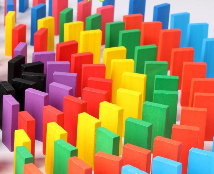 120 Unids/set De Colorido Arco Iris De Madera Juego De Domin & Oacute; Bloque Beb & Eacute; Kit De Educaci & Oacute; N Temprana Domino Gebäude & Konstruktionsspielzeug