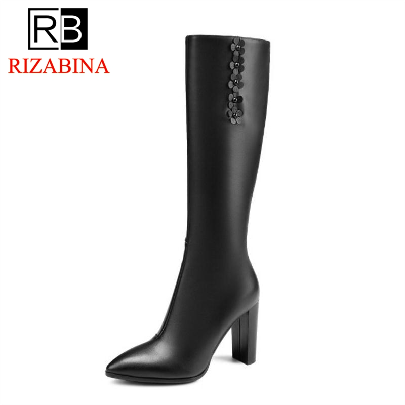 RizaBina Women Knee High Boots Genuine Leather Shoes Woman Warm Fur Shoes Sexy Ladies Heels Flower Winter Boots Size 33-40 zvq winter knee high boots woman mid heel round toe ladies warm shoes real fur genuine leather foot upper women boots heels