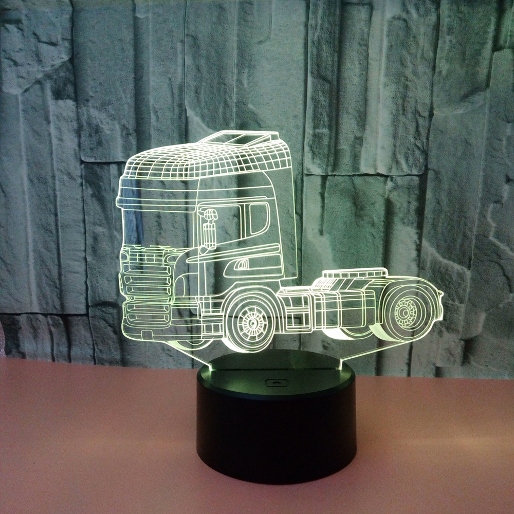 New Creative Truck 3d Nightlight Acrylic Usb 3d Lamp Luminaria De Mesa Powerbank Led Usb Light Fixtures Kids Lamp