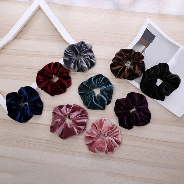 Luxury Elastic Hair Bands Soft Velvet Hair Scrunchie Ponytail Donut Grip Loop Holder Stretchy Hair Band Women Hair Accessories