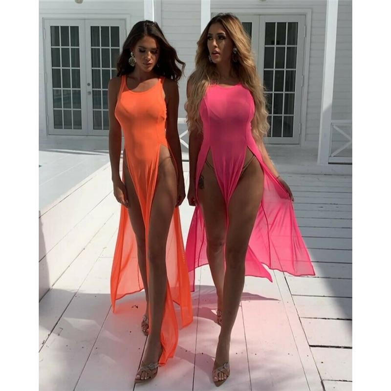 Sexy Women Bathing Swimsuit Bikini Cover Up Dress Lady Summer Swimwear Wrap Pareo Side Split Cover Ups Beach Sarong Dress 2019