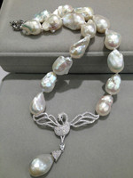 Baroque 100% Real Natural Freshwater Pearl Necklace Big Pearl Necklace With Swan Pendant 925 Sterling Silver