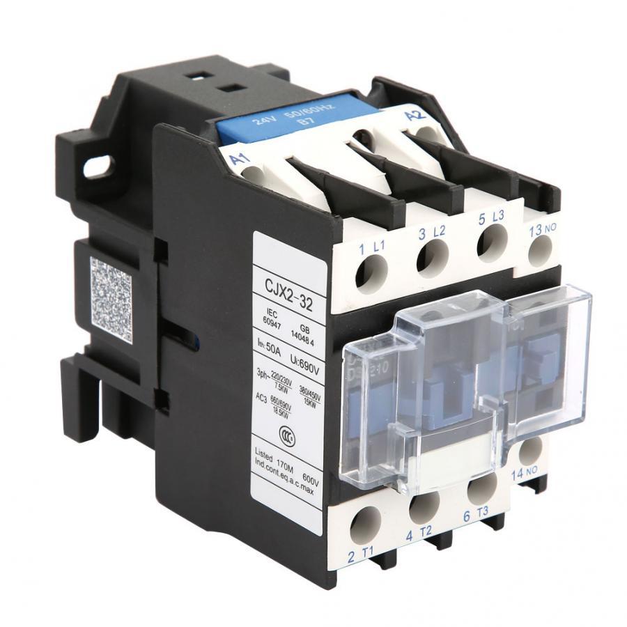 AC Contactor CJX2-3210 High Sensitivity Industrial Electric 32A 24VDC