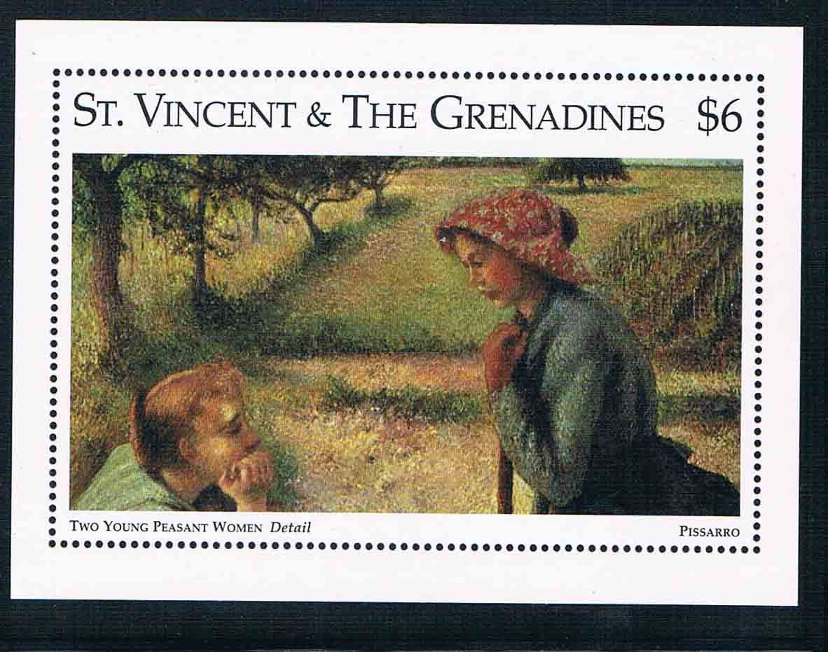 1995 DA0629 St. Vincent Pissarro painting rural girl 1M 0731 new stamps кабина ниссан атлас 1995 фото