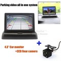"High Resolution 4.3"" Color Security TFT Foldable Monitor with CCD Rear view camera Parking Assitance 2 video inputs system"