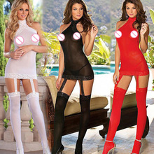 sexy lingerie Halter lace tights hot 4 colors Perspective gauze Halter sexy babydoll+Stockings erotic lingerie sexy costumes