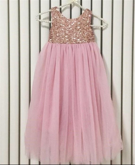 2017 High Quality Custom Made Girls Sequined Dresses Princess with Bow Girls Birthday Dress Sequin Maxi Long Flower Girl Dress girls beauty glamorous bow sequin embroidery bubble long sleeve full clip dress