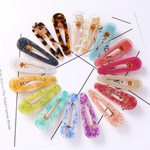 Sale 1PC Acrylic Shiny Hair Clips For Women Sequins Barrettes Waterdrop Girls Hairpins Geometric Accessories