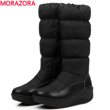 MORAZORA Russia Keep Warm Women boots zip soft leather knee high snow boots thick fur plush warm down wedges winter shoes woman