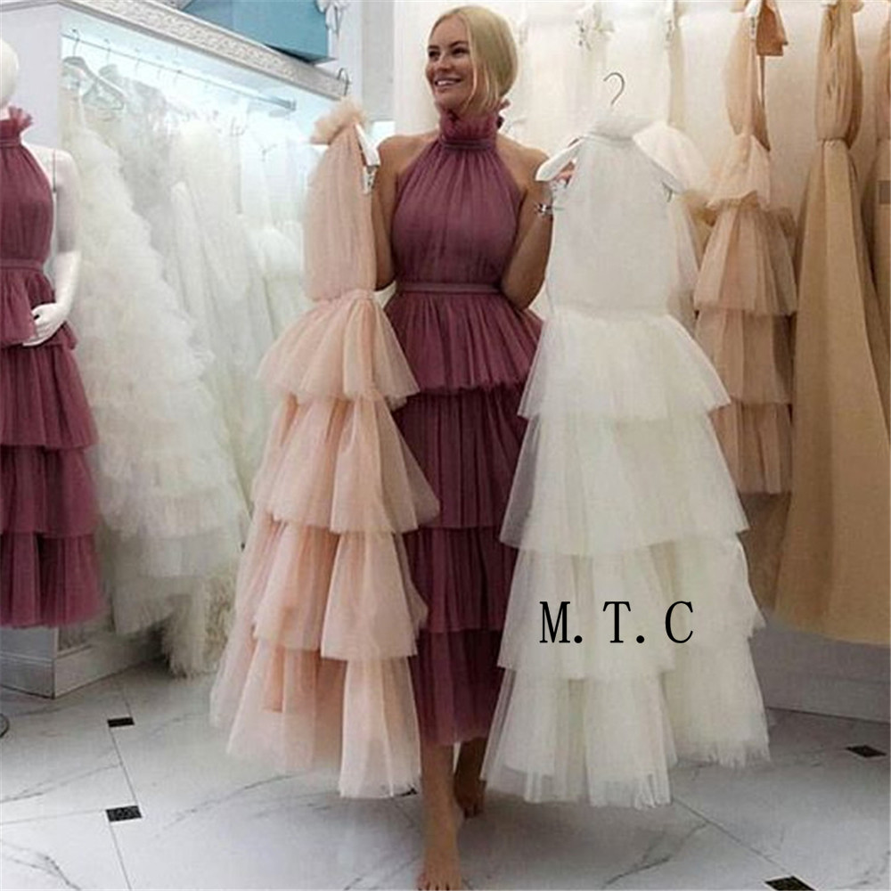 2019 Hot Selling Tiered Tulle Prom Dresses High Neck A Line Long Evening Party Gown Custom
