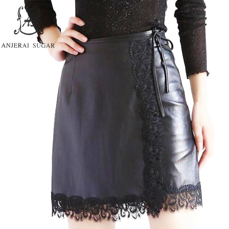 Real sheepskin Genuine leather skirts women black sexy bow split joint lace slim Package hip OL office female pencil short skirt
