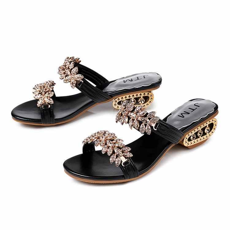 2019 新女性の靴のスリッパ夏のビーチサンダルファッション女性ラインストーン屋外スリッパフリップ靴女性 mujer * * 692