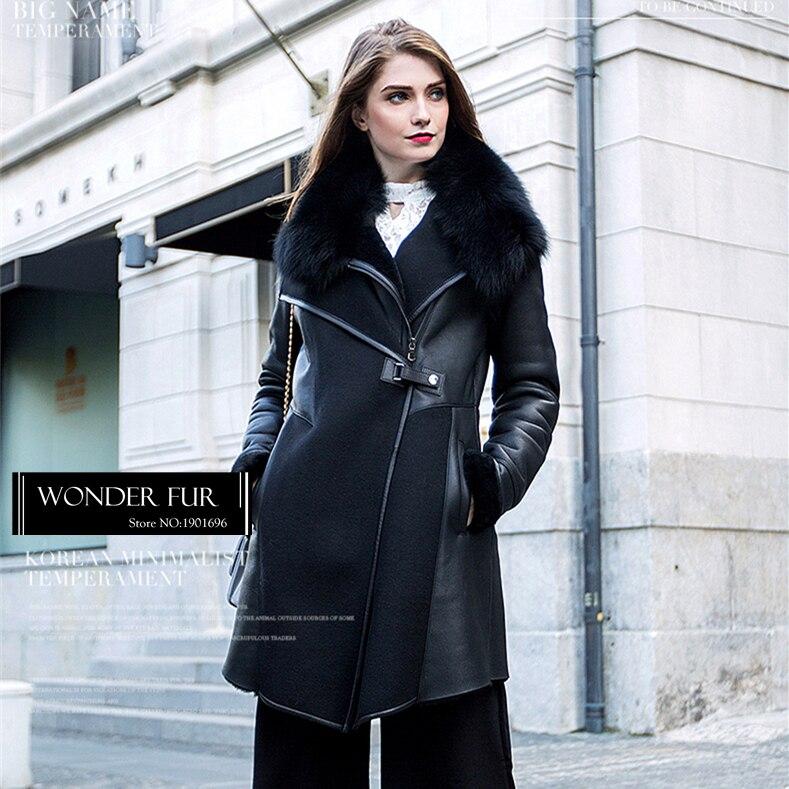 De Conception Peau Et Dames Laine Avec Veste D'hiver Européenne Réel Vêtement Mérinos Black Style Fourrure Unique Col Fox Mouton qwxIngRT