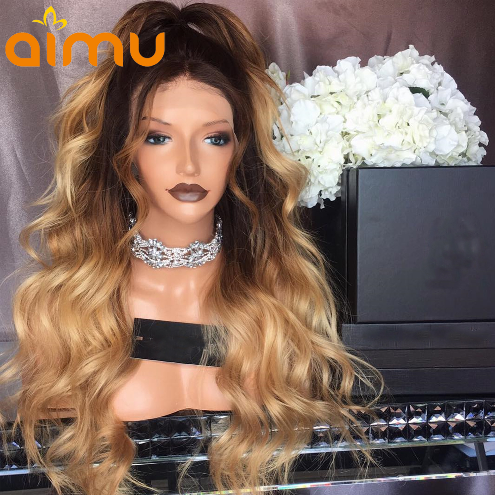 150 Density Dark Roots Ombre Honey Blonde Lace Front Human Hair Wigs With Baby Hair Wavy Brazilian Virgin Wig For Black Women(China)