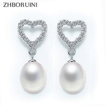 ZHBORUINI 2019 Fashion Pearl Earrings 925 Sterling Silver For Women Love Heart Earring Natural Freshwater Pearl Jewelry Gift