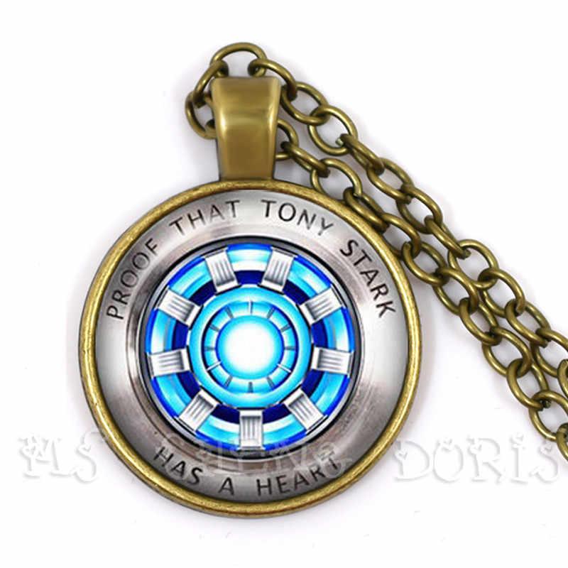 Wisiorek ze szklanym kaboszonem Marvel Iron Man Tony Stark Arc reaktor naszyjnik Avengers 4 Endgame Quantum Realm Film pamiątka