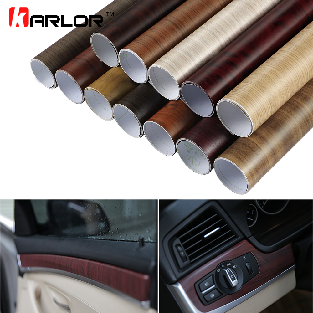 Image 1 - 30*100CM PVC Wood Grain Textured Car Interior Decoration Stickers Waterproof Furniture Door Automobiles Vinyl Film Car Styling-in Car Stickers from Automobiles & Motorcycles