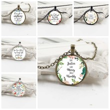 2019 New Bible Scripture Necklace Glass Domed Scripture Reference Pendant Necklace for Christian Jewelry Party Faith Gift(China)