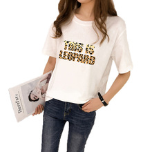 2019 Brief Leopard Letter Print Women T-shirt Cotton O-neck Short Sleeve Female Tees Casual Loose Female Tops T Shirt Summer tees women t shirt print letter t shirt casual short sleeve cotton tops 2019 spring summer