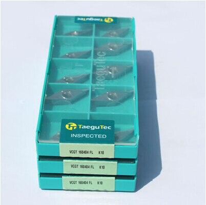 Taegutec pastilha de metal duro K10 K10 atacado VCGT160404FL VCGT160404FL para usinagem de ferro fundido de Alumínio Geral