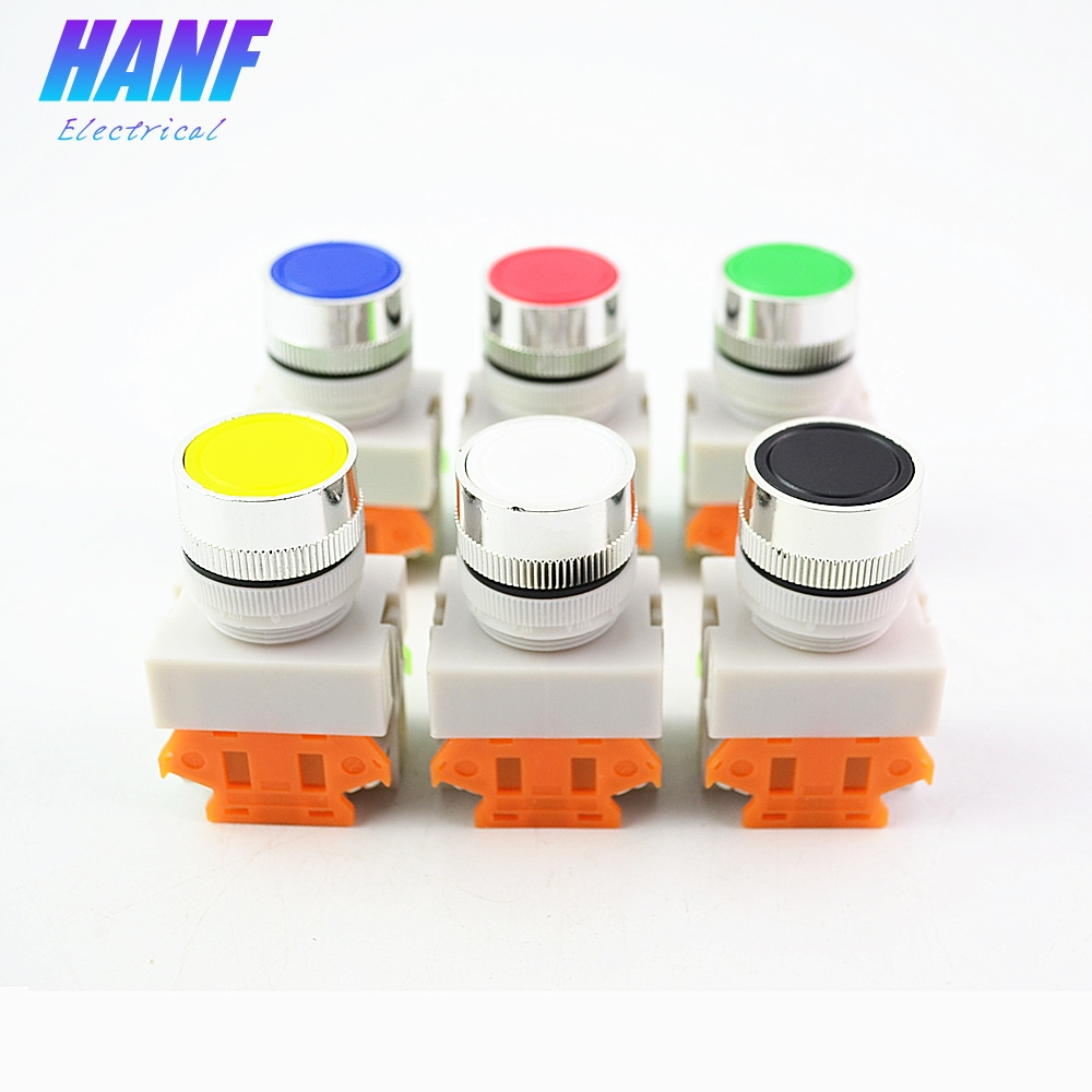 1pcs 22mm DPST 1NO1NC Momentary Plastic Push Button Switch 4 screws 10A 600V  Power   Red Green Yellow Blue White Black