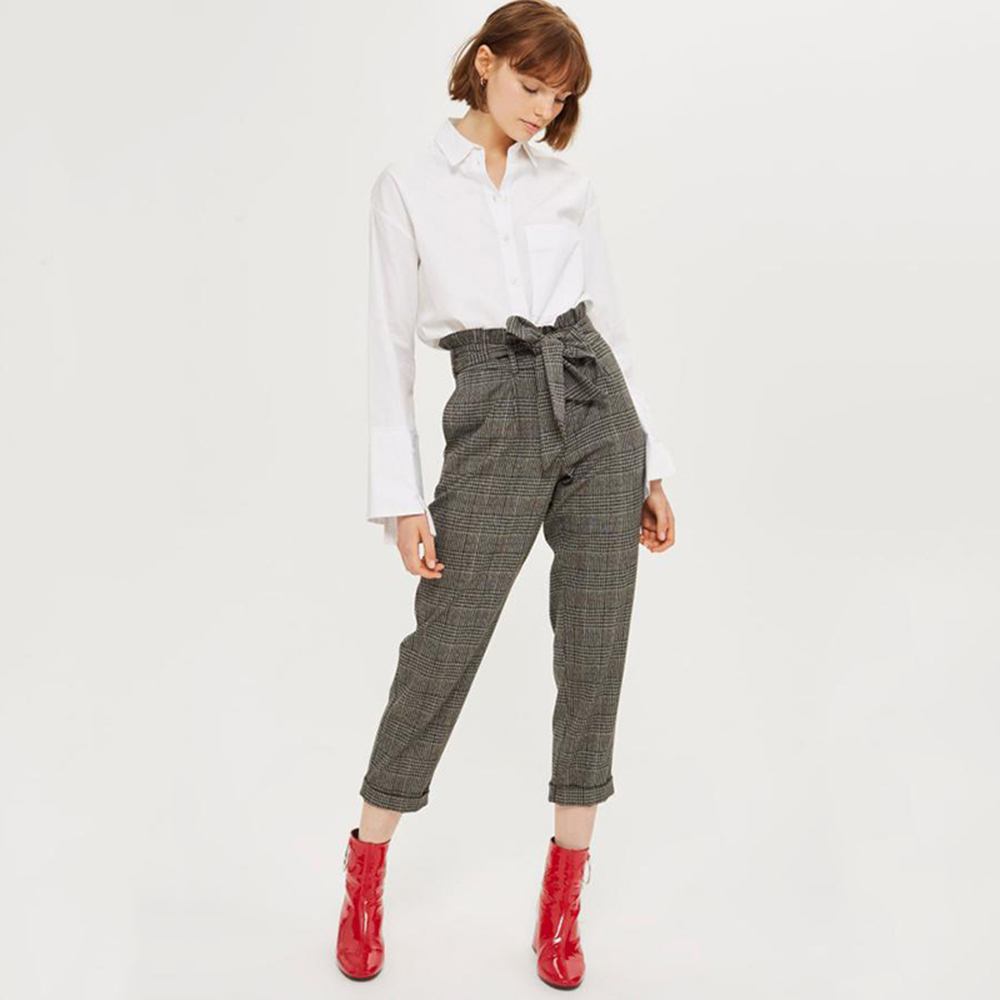 Knitted Wool   Pants   Gray Plaid womanRetro Ladies Office   Pants   Bandage Cropped Ethnic Pantalones Casual   Capris   For woman8A70038