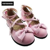 Women S Lolita Buckle Ankle Cross Strap Sweet Princess Mary Janes Shoes Round Toe For Woman