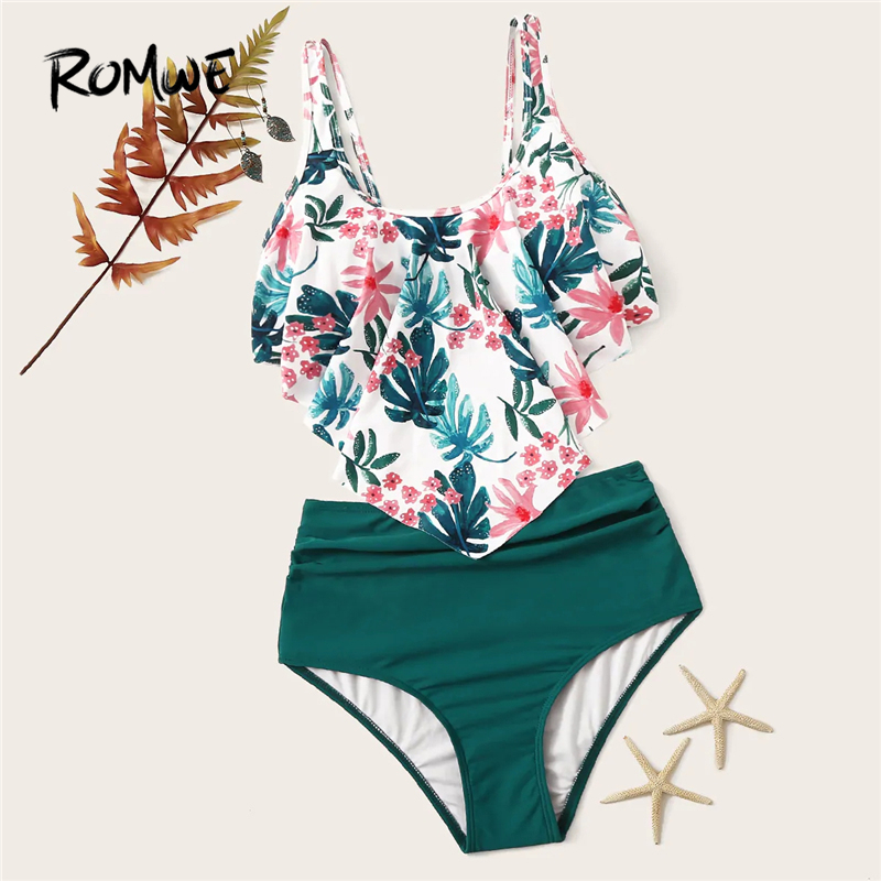 Romwe Sport Bikinis Set Exaggerated Ruffle Ruched Tropical Floaty Top With Ruched Two-Pieces Suits Women Summer Beach Swimwear