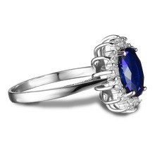 JewelryPalace Princess Diana William Kate Middleton's 3.2ct Created Blue Sapphire Engagement 925 Sterling Silver Ring For Women