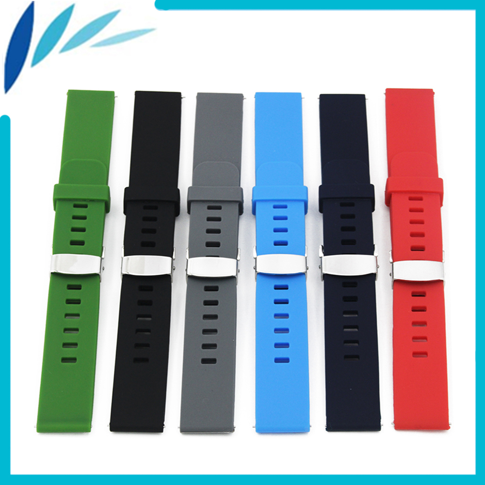 Silicone Rubber Watch Band 18mm 20mm 22mm for Breitling Hidden Clasp Strap Quick Release Wrist Loop Belt Bracelet Black Blue Red silicone rubber watch band 22mm for breitling stainless steel pin clasp strap quick release wrist loop belt bracelet black