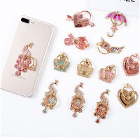 50pcs/lot Mobile Phone Stand Holder Metal For iPhone Xiaomi Huawei All Phone Finger Ring Mobile Smartphone Stand Diamond