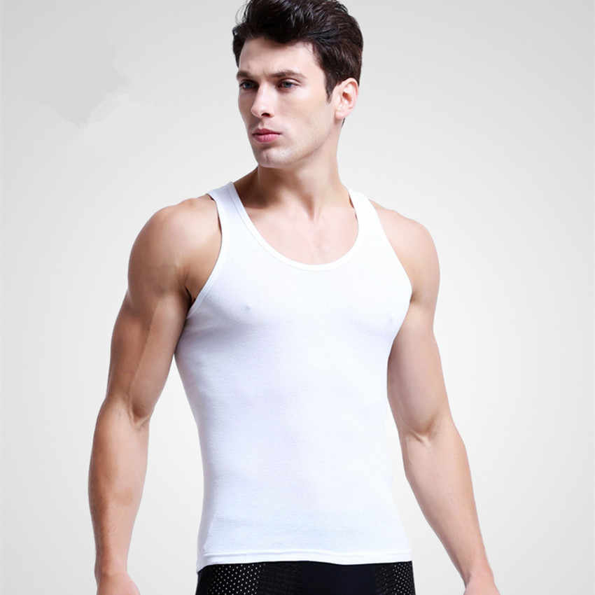 Mens Undershirts Cotton Slimming Vest Seamless Underwear Men Bodysuit Singlet Thermal Inner Shirt Male Croset White Back Gray