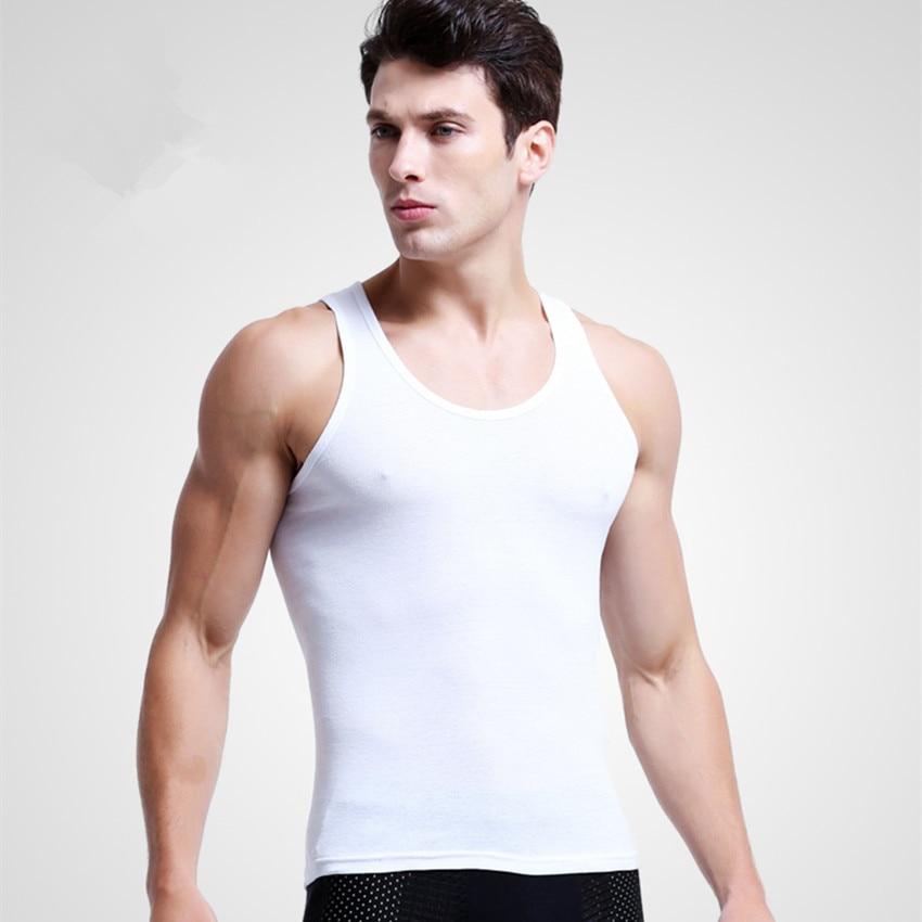 Mens Undershirts Cotton Slimming Vest Seamless Underwear Men Bodysuit Singlet Thermal Inner Shirt Male Croset White Back Gray