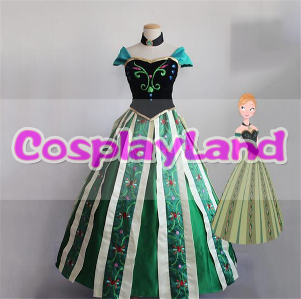 Princess Anna Cosplay Costume Party Elsa Anna Dress Halloween Adult Women Cosplay Costumes Fancy Dresses