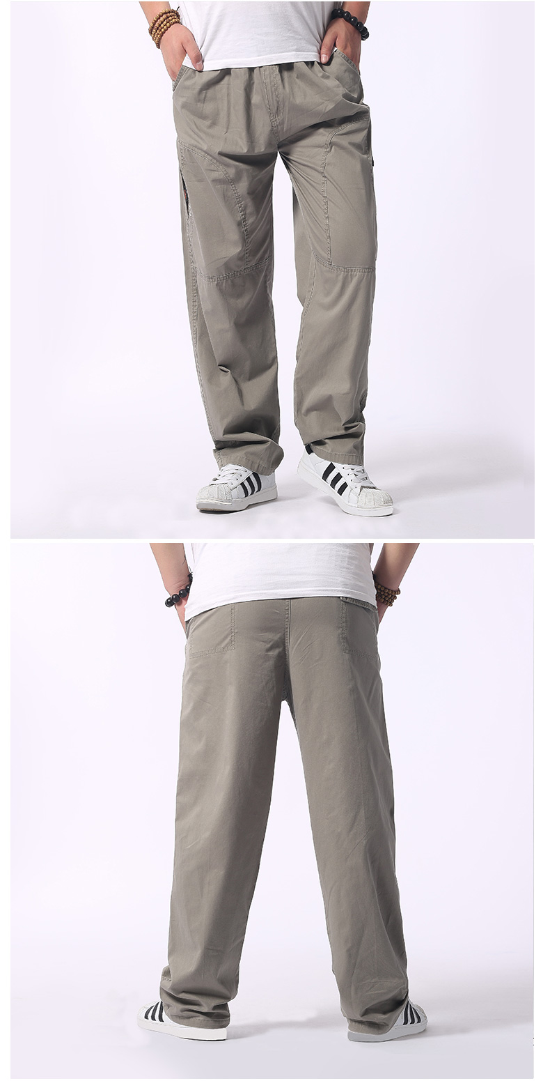 Man Loose Fitting Cargo Pants Yellow Black Gray Khaki  Overall For Mens Cotton Comfort Trousers Elastic Waist Pant American Apparel (11)