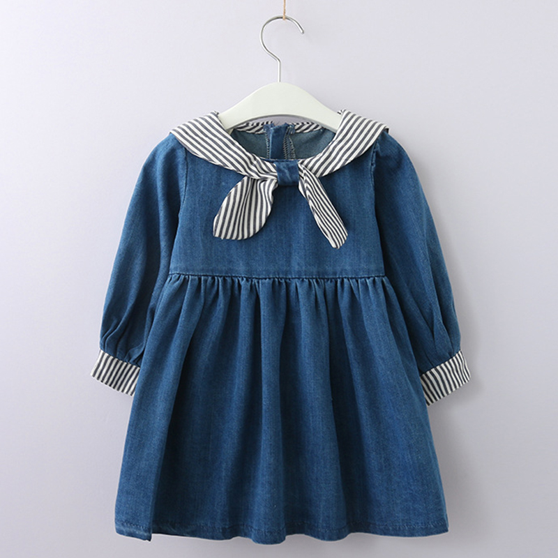 цена Girls Dress 2018 New Style Kids Striped Exquisite Clothes Embroidery Dress Striped Navy Girls Clothing Autumn Children Dress