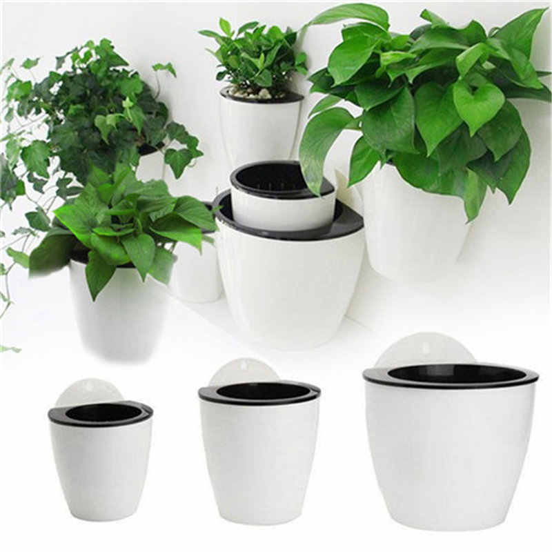 Automatic Water-absorbing Flower Pot Hydroponics Wall-mounted Plastic Flower Pot Home Wall-mounted Decoration Creative