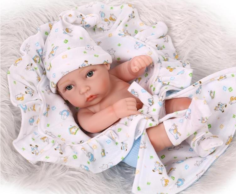 0- 12 Months Baby Best partner 12inches MIni Soft Silicone Reborn Baby Dolls Lifelike Lovely Fashion Doll Toys Can Take A Bath