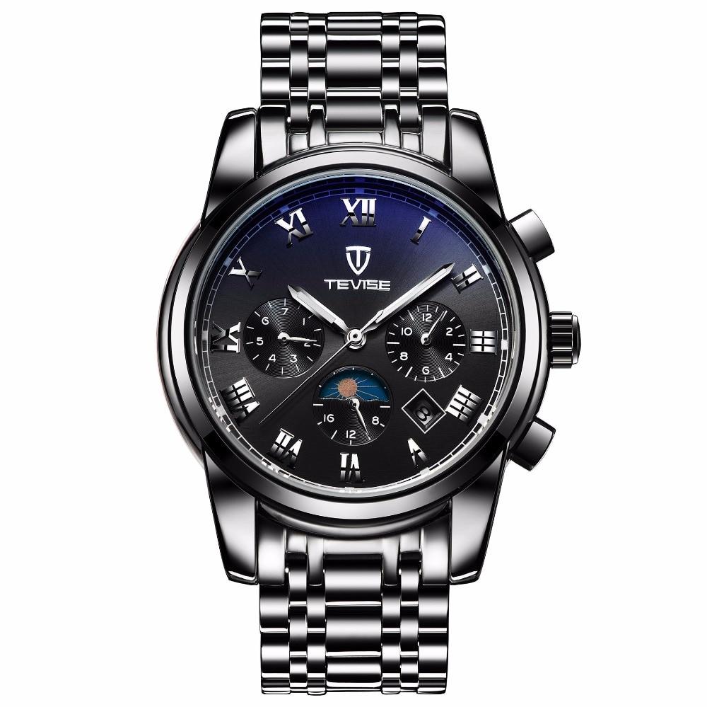 NEW creative watches men luxury strap Automatic Self-Wind Mechanical Wristwatches waterproof Calendar Luminous Moon Phase 9005l