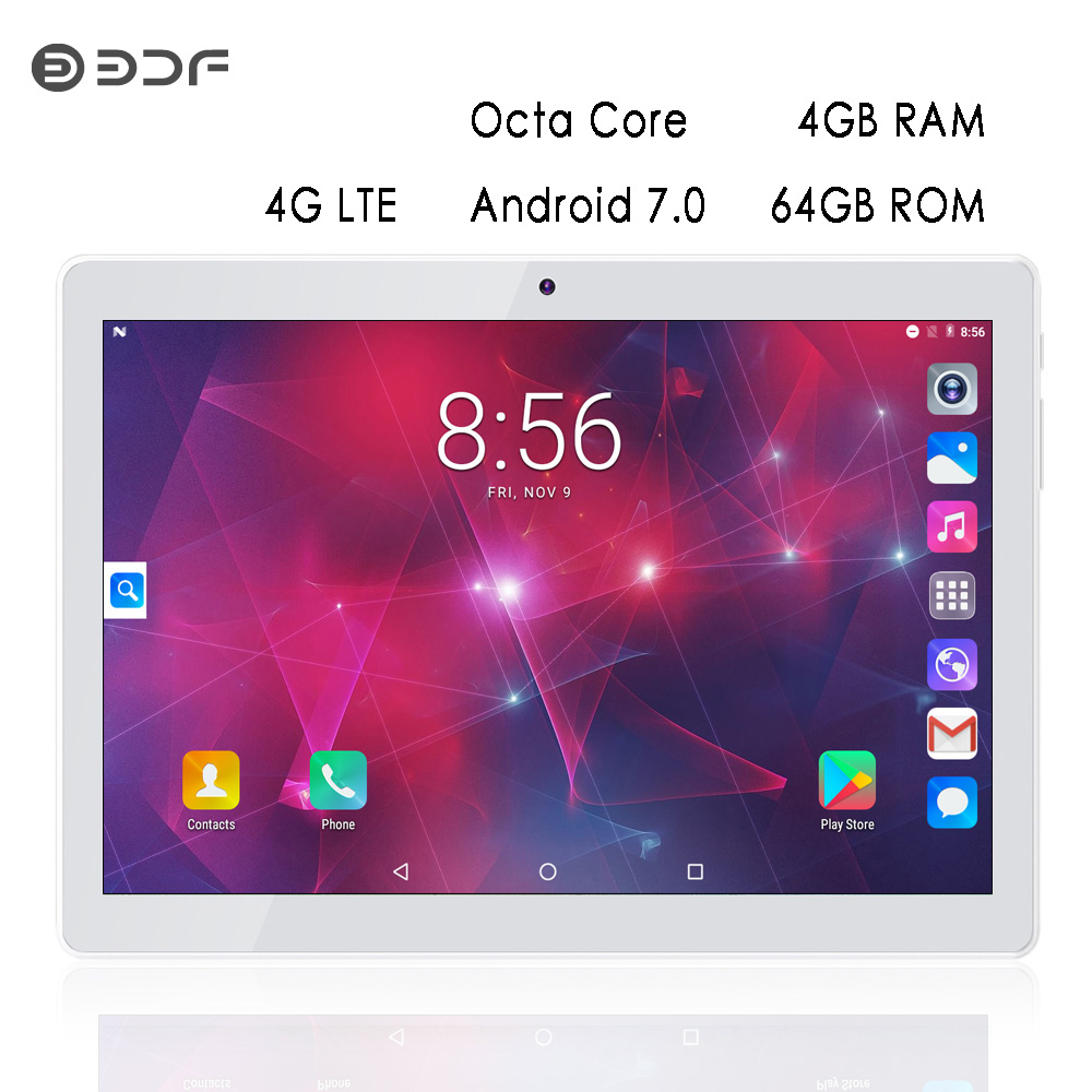 Tablet 10.1 Inch LTE 4G Phone Call Tablets Octa Core Android 6.0 Tablet Pc 4G+64G WiFi GPS Bluetooth Dual SIM IPS Screen 7 8 10