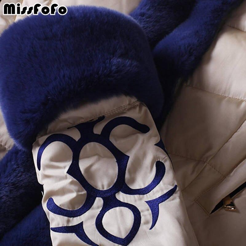 Lapin Marque Le Qualité Vers De Bas Femelle Haute Broderie Mince Luxe Blanc Femmes Fourrure Royalcat Missfofo Longue Réel Manches Capot Manteau Vestes 7qAa5tn