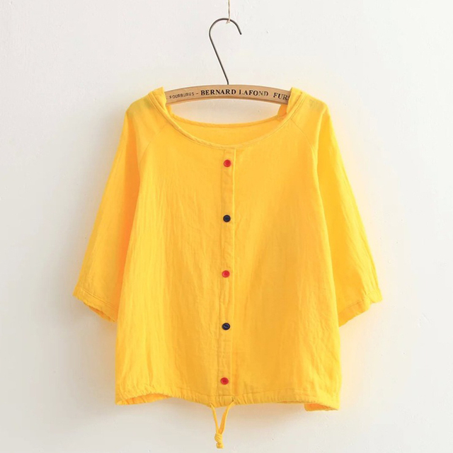 Ladies Summer Sweet Solid Colorful Button Cotton Linen Shirt Blouse