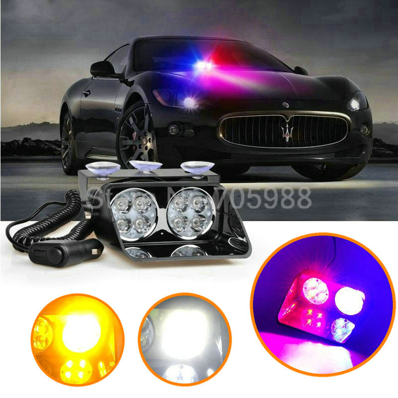 8 LED Strobe Flash light,  Car Warning  Police Light , Flashing Firemen Fog lamp luces led de policía