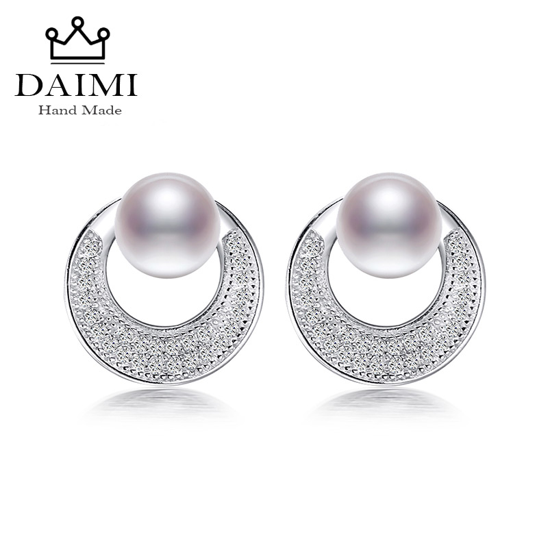 DAIMI Fashion 100% Genuine Natural Pearl Earrings Pearl Jewelry With 925 Sterling Silver Circle Earrings For Women Eye catching a suit of chic fake pearl rhinestone circle bowknot necklace and earrings for women