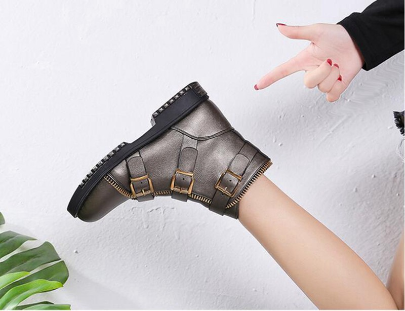 COOTELILI Fashion Zipper Boots Women Shoes Woman Ankle Boots For Women 4cm Heel Winter Autumn Rubber Boots Women 35-40 (5)