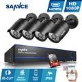 Sannce 2.0mp 8ch 1080 p sistema de cftv câmeras de segurança cctv ir ao ar livre de 8 canais 1080 p vigilância cctv dvr kit 1 tb hdd