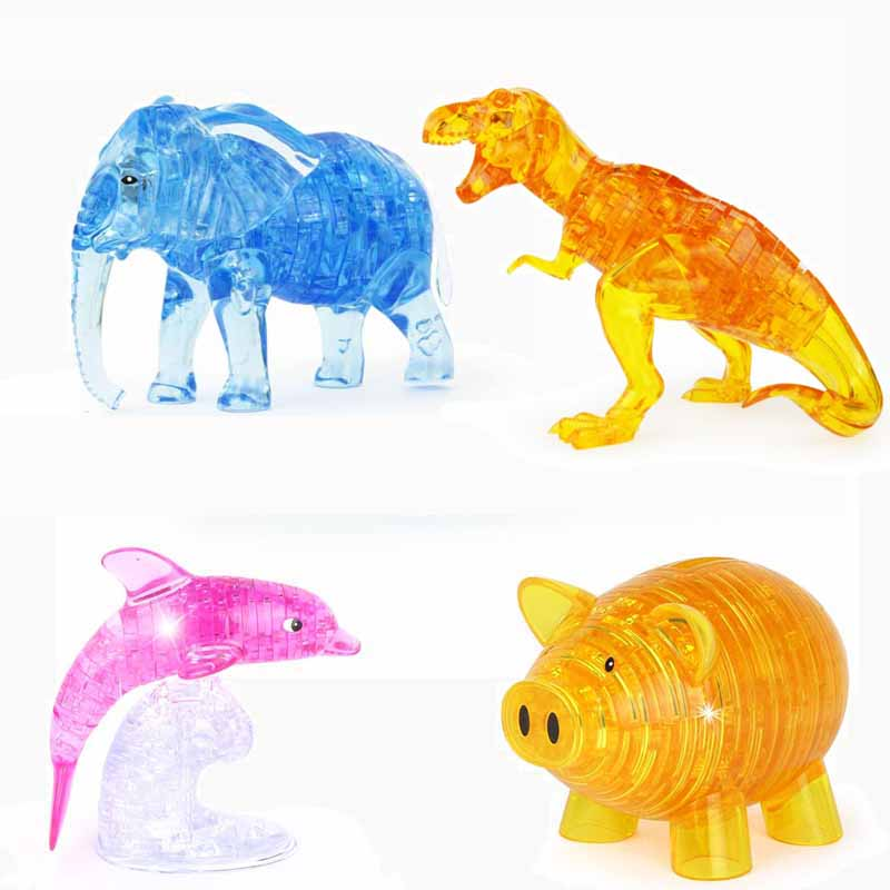 DIY Crystal Elephant Dolphin Treasure Chest Pig Dinosaur 3D Puzzle Jigsaw For Kid Intellectual Assembled Puzzles Toy Gift