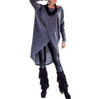 Plus Size S 5XL Autumn ZANZEA Women Shirts Asymmetric Hem Blouse Casual Tops Fashion Pullovers Solid