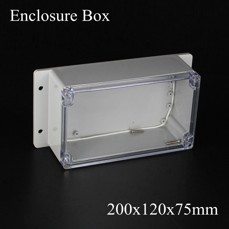 200*120*75mm IP66 ABS Waterproof electronic enclosure project box Distribution control switch junction outlet case Clear cover стоимость
